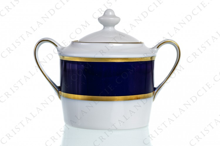 Sugar bowl in Limoges china by Bernardaud pattern Sparte cobalt blue decorated with a cobalt blue stripe and gold borders
