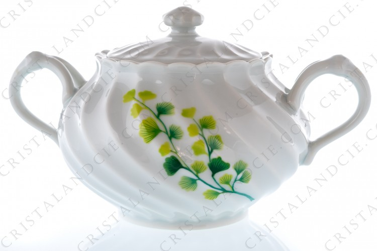 Sugar bowl in Limoges china by Haviland pattern Tors decorated with boughs