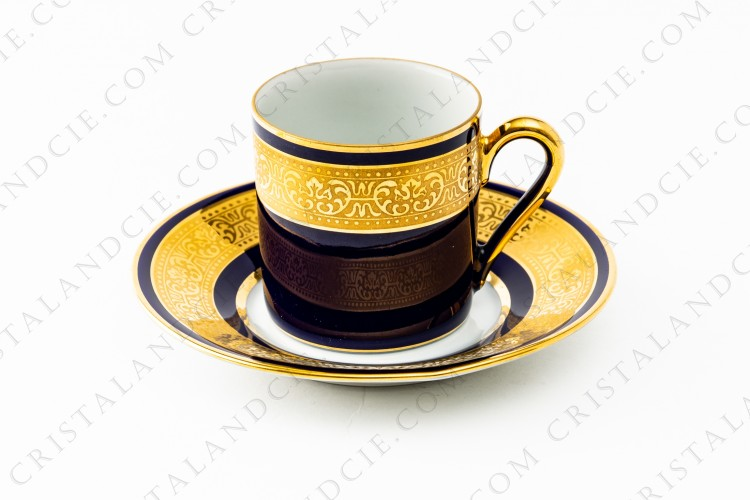 Coffee cup cobalt blue and gold by Limoges