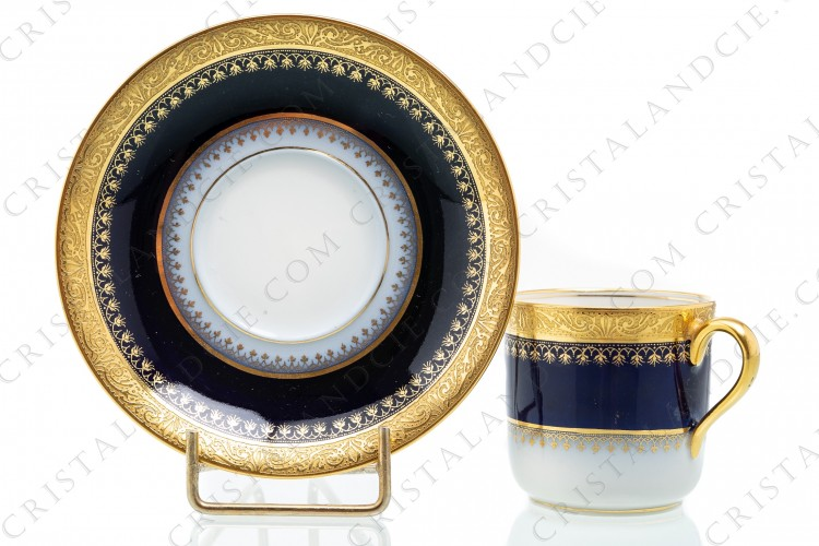 Coffee cup cobalt blue gold inlays by Haviland