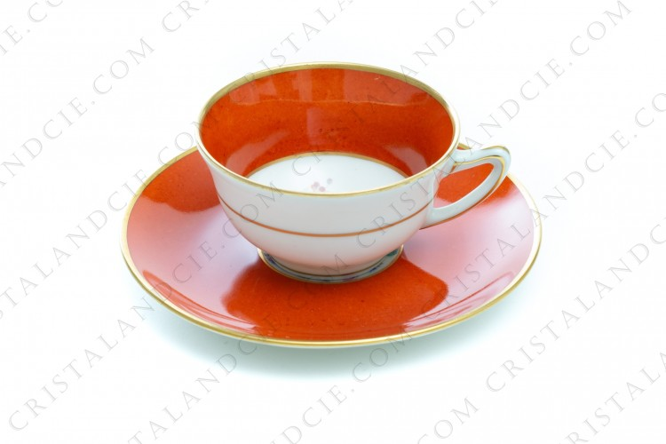 Orange flowered coffee cup by Haviland et Parlon