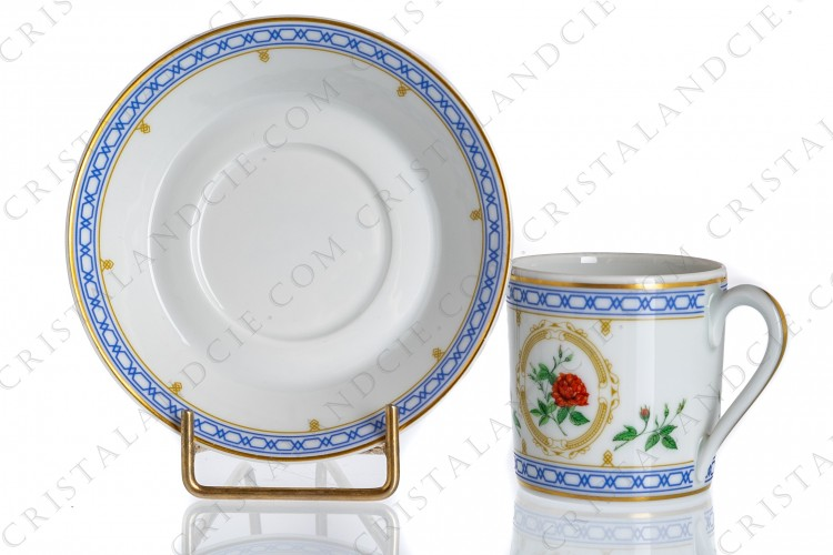 Coffee cup in Limoges china by Haviland collection Empress Josephine pattern Maiden s Blush, decorated with polychromes roses and with blue and gold friezes and borders