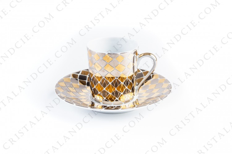 Coffee cup in Limoges china by the workshop Philippe Deshoulières, decorated by Yves Saint-Laurent pattern Menara, decorated with hand painted gold diamonds photo-1