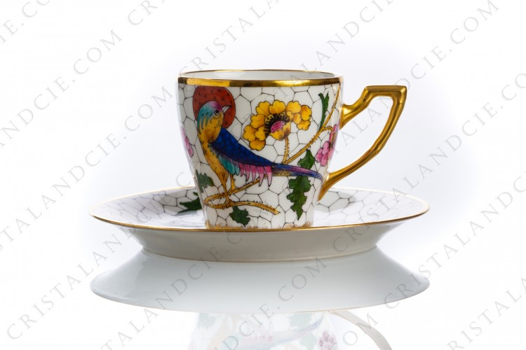 Coffee cup in Limoges china decorated with hand painted bird of paradise on flowery branches by the workshop P photo-1