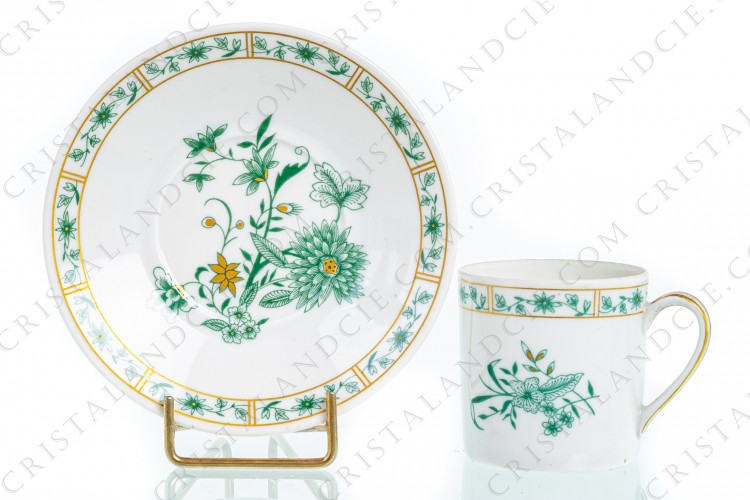 Coffee cup in Limoges china by Bernardaud pattern Pekin decorated with green gold enhanced flowers photo-1
