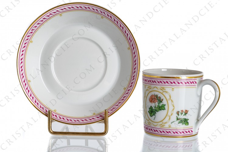 Coffee cup in Limoges china by Haviland collection Empress Josephine pattern Rosa Celeste, decorated with polychromes roses and with pink and gold friezes and borders