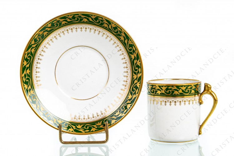 Green and gold coffee cup by Chabrol and Poirier