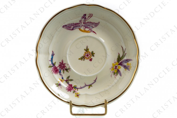 Tea cup in china of Limoges by Bernardaud pattern Chantilly with a japanese polychrome pattern of flowers and birds of paradise photo-1