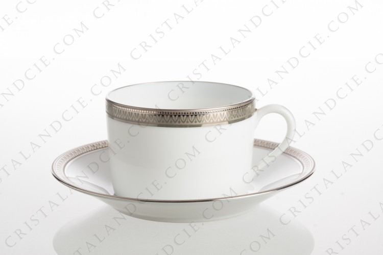 Tea cup in Limoges china by Haviland and Parlon pattern Malmaison decorated with platinum friezes photo-1