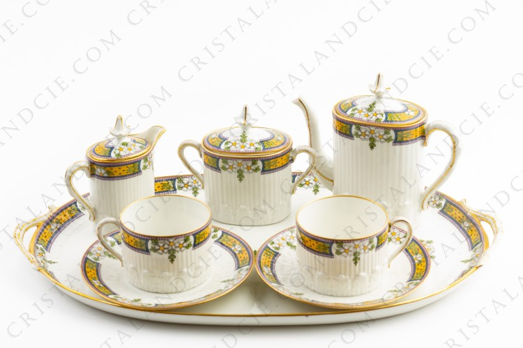 Coffee set in Limoges china by Chabrol et Poirier decorated with friezes of polychromes flowers