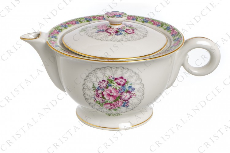 Tea pot with bouquet of flowers by Haviland
