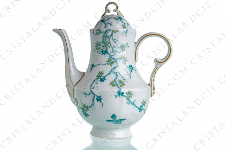 Tea pot flowers and bird by Haviland and Parlon