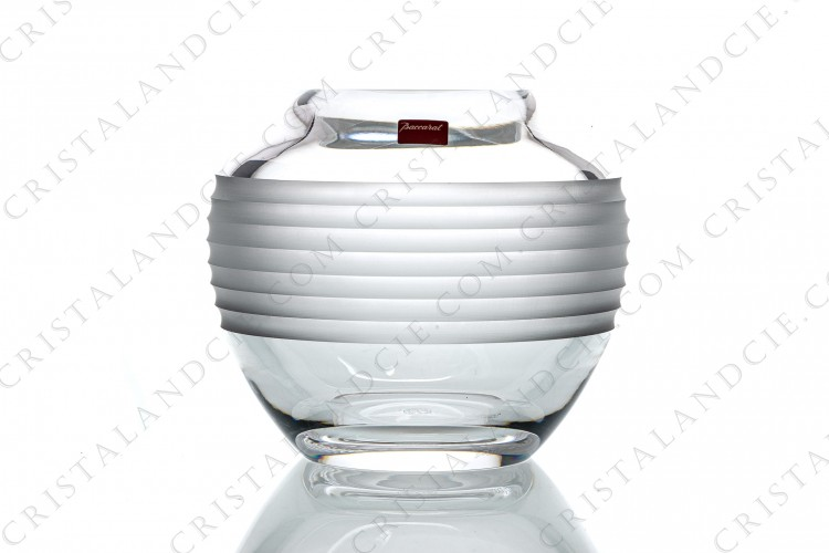 Ball vase in crystal by Baccarat decorated with frosted furrows