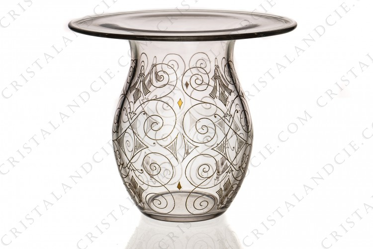 Vase incrustations or 1930 par Baccarat