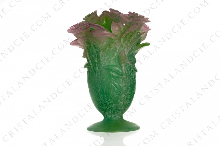 Vase in green and pink pate de verre by Daum representing a bunch of roses photo-1