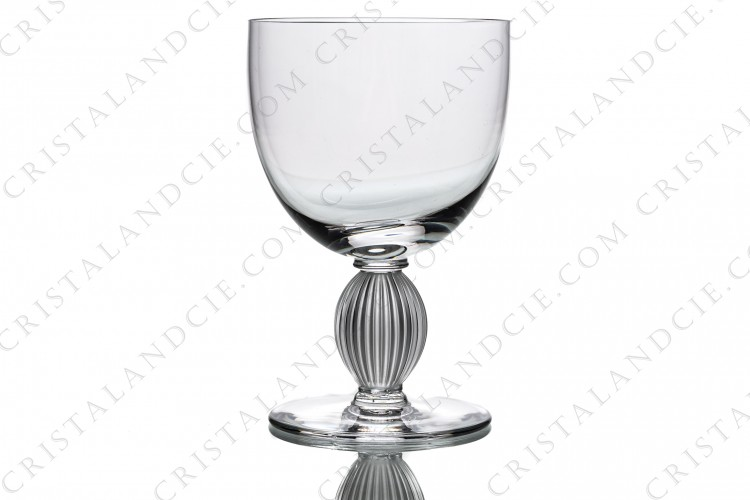 Water glass in crystal by Lalique pattern Langeais decorated with a striated and frosted ball on the stem