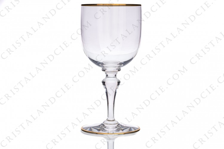 Water glass n°2 in crystal by Baccarat pattern Mahora decorated with gold borders