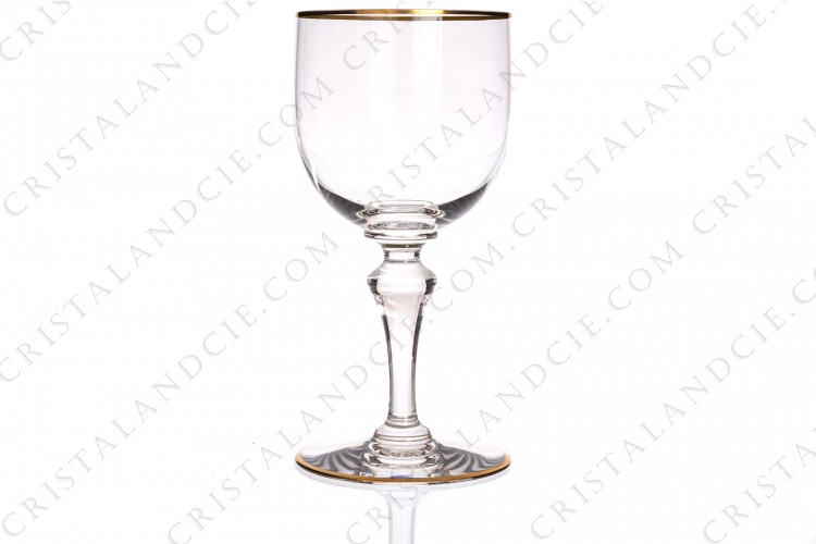 Wine glass n°3 in crystal by Baccarat pattern Mahora decorated with gold borders