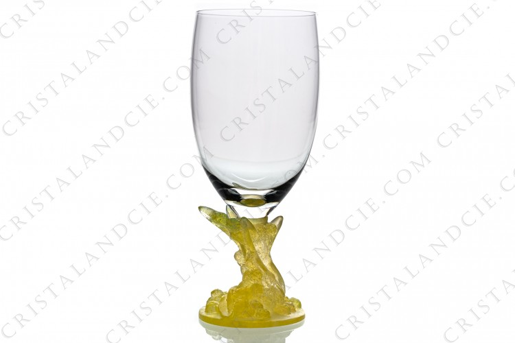 Wine glass n°3 in crystal and pate de verre by Daum pattern Mimosa which the stem in yellow pate de verre represents a mimosa branch