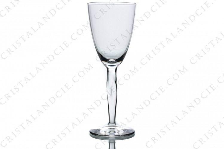 Wine glass n°4 in crystal by Daum pattern Ovedelia with a twisted stem