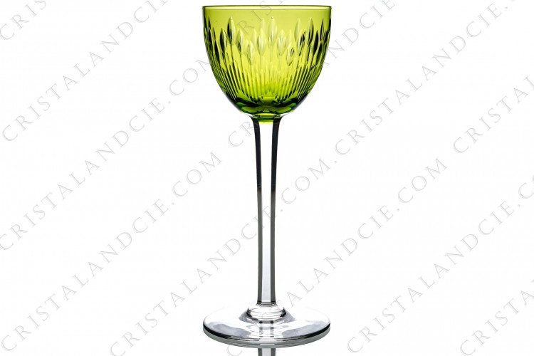 Rhine wine glass, hock in yellow crystal by Baccarat pattern Corneille decorated with cut bevels on the gob and with flat cut on the stem photo-1