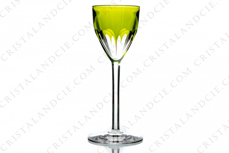 Moss green wine glass hock Genova by Baccarat