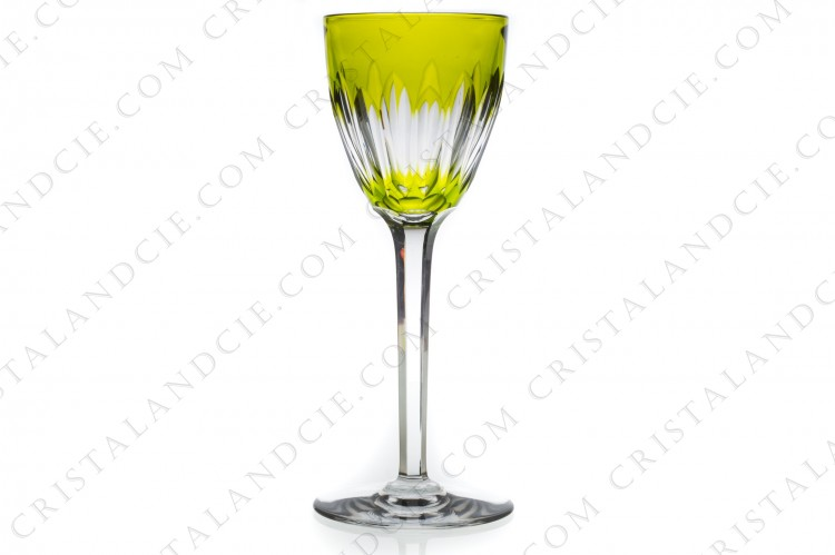 Moss green wine glass hock Verone by Baccarat