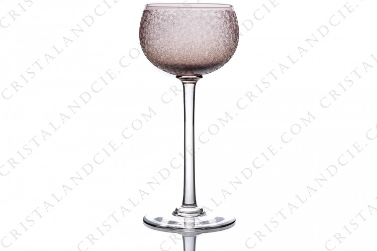 Rhine wine glass, hock in purple crystal by Saint-Louis with an engraved with the acid pattern photo-1