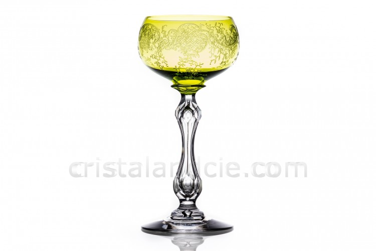 Rhine wine glass hock in yellow crystal by Saint-Louis pattern Mikado with a cut hollow stem, and with the parison is engraved with the pattern 899