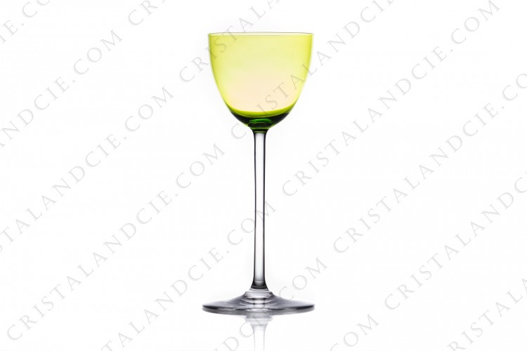 Rhine wine glass hock in moss green crystal by Baccarat pattern Perfection photo-1