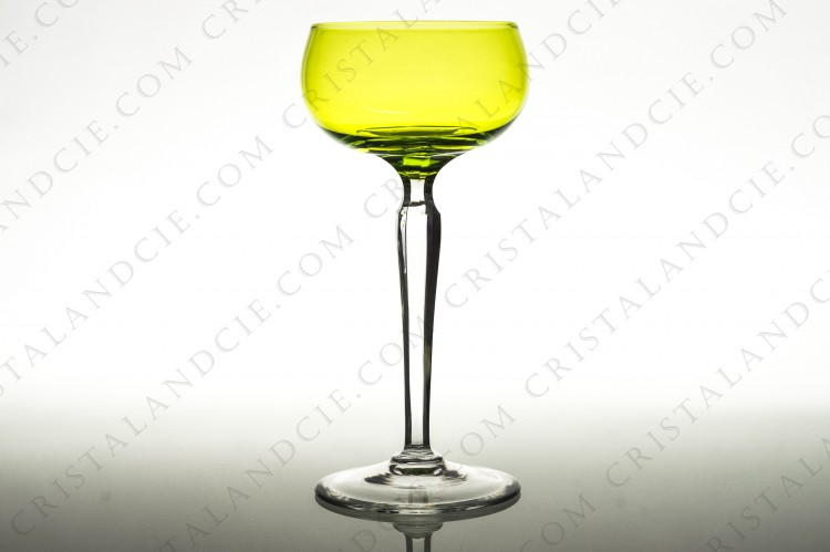 Yellow wine glass hock Saumur by Val Saint-Lambert
