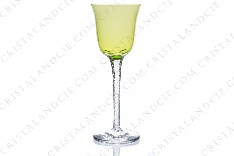 Rhine wine glass hock in crystal by Lalique pattern Trêves with a lime green gob and a stem engraved with arabesques photo-1