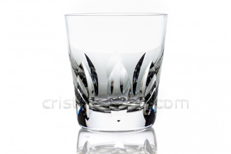 Whisky glass tumbler Old fashion in crystal by Saint-Louis pattern Jersey with a cut pattern