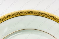Dinner plate in Limoges china by Raynaud pattern Ambassador gold, decorated with a gold inlays frieze photo-2
