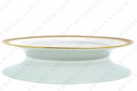 Dinner plate in Limoges china by Lafarge decorated with gold and platinum inlays friezes photo-2