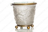 Box in molded, satin and polished crystal by Baccarat decorated with grapevine on a background seems like a barrel photo-2
