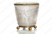 Box in molded, satin and polished crystal by Baccarat decorated with grapevine on a background seems like a barrel photo-3