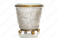 Box in molded, satin and polished crystal by Baccarat decorated with grapevine on a background seems like a barrel photo-4
