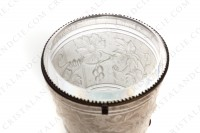 Box in molded, satin and polished crystal by Baccarat decorated with grapevine on a background seems like a barrel photo-5