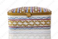 Rectangular box in china hand decorated by the workshops Le Tallec, decorated with red, blue and gold stripes and with gold crown of laurels photo-2