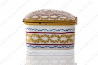 Rectangular box in china hand decorated by the workshops Le Tallec, decorated with red, blue and gold stripes and with gold crown of laurels photo-4