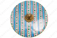 Round box in china of Limoges hand decorated by the workshops Le Tallec, decorated with tainted and enameled polychromes stripes photo-4