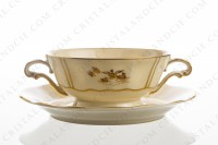 Bouillon cup in Limoges china by Bernardaud decorated with gold hand painted rurals scenes by R photo-3