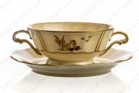 Bouillon cup in Limoges china by Bernardaud decorated with gold hand painted rurals scenes by R photo-2