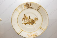 Bouillon cup in Limoges china by Bernardaud decorated with gold hand painted rurals scenes by R photo-4