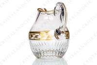 Water jug in crystal by Saint-Louis pattern Callot decorated with a frieze of grapevine in gold inlays on an engraved with acid background, with cut bevels and gold borders photo-3