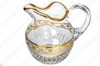 Water jug in crystal by Saint-Louis pattern Callot decorated with a frieze of grapevine in gold inlays on an engraved with acid background, with cut bevels and gold borders photo-2