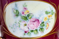 Flower pot in Limoges china decorated with hand enhanced polychromes bouquets of flowers in medallions on a pink background, and with hand painted women heads and pattern in mat gold photo-3
