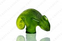 Chameleon in clear and frosted green crystal by Lalique photo-4