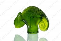 Chameleon in clear and frosted green crystal by Lalique photo-5